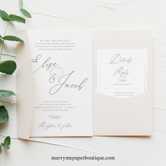 Wedding Invitation Template Set, Elegant Font, Editable & Printable Instant Download, Pocketfold Style, Try Before Purchase
