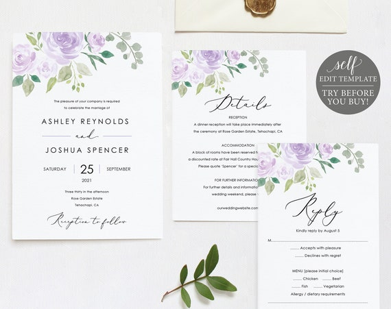 Wedding Invitation Set Templates, Mauve & Lilac Floral, TRY BEFORE You BUY, Editable Instant Download