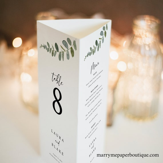 Wedding Trifold Table Number Template, Eucalyptus Greenery, Wedding Menu Template, Printable, Templett INSTANT Download, Editable