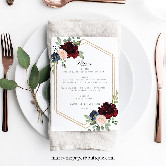 Wedding Menu Template, Burgundy Navy 5x7, Demo Available, Editable Printable Instant Download