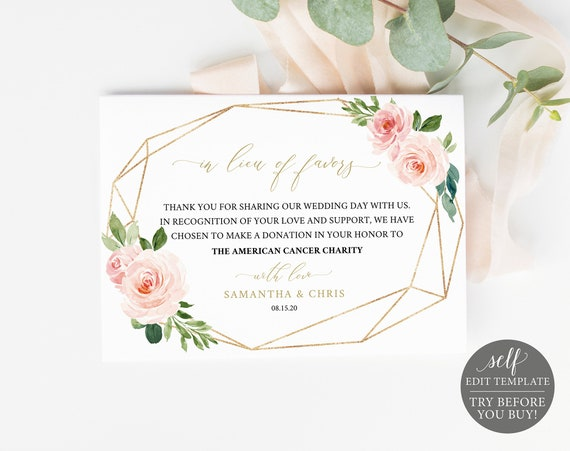 In Lieu of Favors Card Template, Blush Floral Geometric, Editable Instant Download, TRY BEFORE You BUY