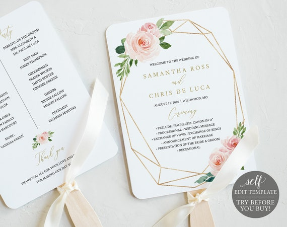 Wedding Program Fan Template, TRY BEFORE You BUY, Editable Instant Download, Blush Floral Geometric