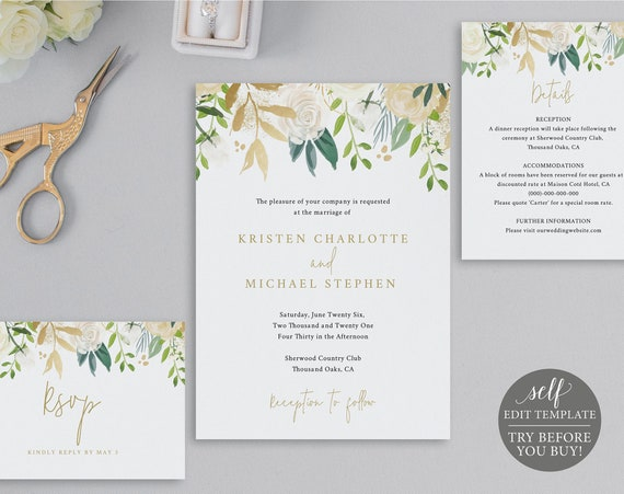 Wedding Invitation Set Templates, White & Gold Floral, TRY BEFORE You BUY, 100% Editable Instant Download
