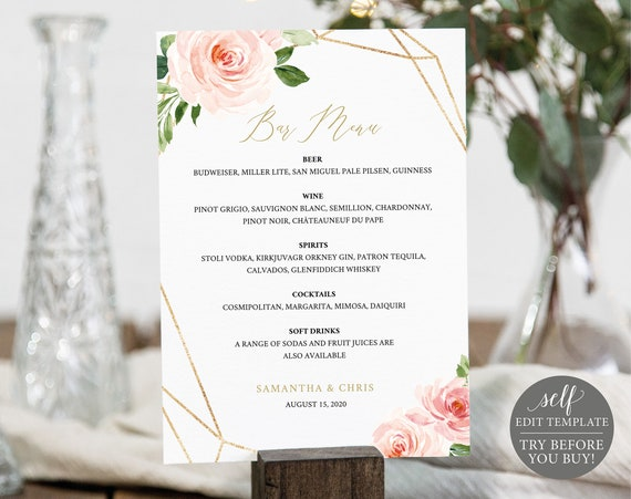 Bar Menu Template, Blush Floral Geometric 5x7, Editable Instant Download, TRY BEFORE You BUY