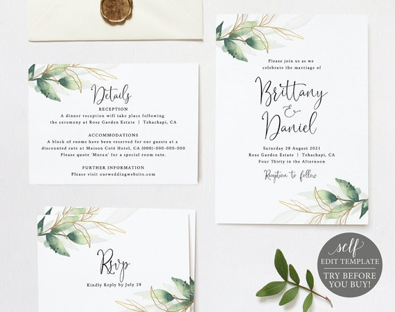Wedding Invitation Set Templates, TRY BEFORE You BUY, Greenery & Gold Leaf, Fully Editable Instant Download