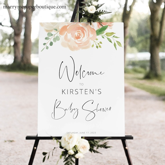 Baby Shower Sign Template, Peach Floral, Editable Instant Download, TRY BEFORE You BUY