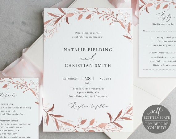 Wedding Invitation Set Templates, Rose Gold Foliage, Editable Instant Download, TRY BEFORE You BUY