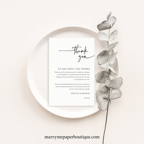 Thank You Letter Template, Modern Contemporary, Clean Simple Wedding Table Thank You Note, Printable, Editable, Templett INSTANT Download