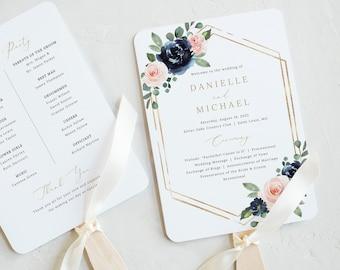 Wedding Program Fan Template, Navy & Blush Floral, Wedding Ceremony Fan Program, Printable, Templett INSTANT Download