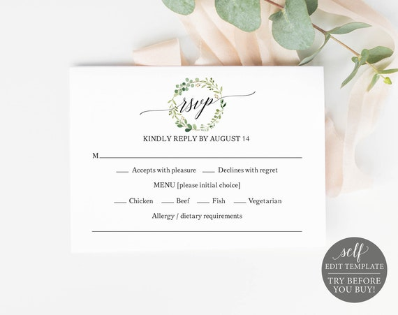 RSVP Template, Greenery Wreath, Editable & Printable Instant Download, Demo Available