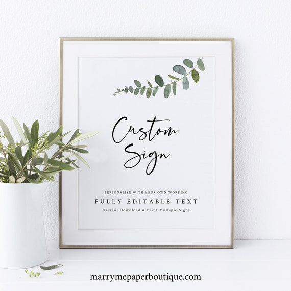 Greenery Wedding Sign Bundle Template, Euclayptus Design, Make Multiple Signs, Templett Instant Download, Try Before Purchase