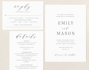 Wedding Invitation Template Set, TRY BEFORE You BUY, Fully Editable Instant Download, Formal & Elegant