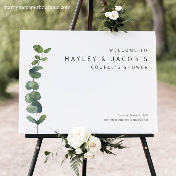 Couples Shower Welcome Sign Template, Elegant Eucalyptus, Printable Shower Welcome Sign, Templett INSTANT Download, Editable