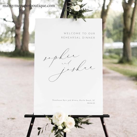 Rehearsal Dinner Welcome Sign Template, Luxury Calligraphy, Elegant Wedding Rehearsal Dinner Sign, Printable, Templett INSTANT Download