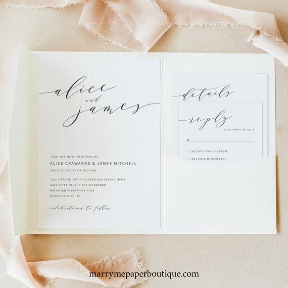 Elegant Wedding Invitation Template Suite, Modern Invite Set Printable, Templett Editable, Instant Download, Pocket Fold Style