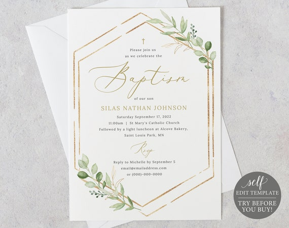 Baptism Invitation Template, Greenery Hexagonal, Editable & Printable Instant Download, Templett, TRY BEFORE You Buy