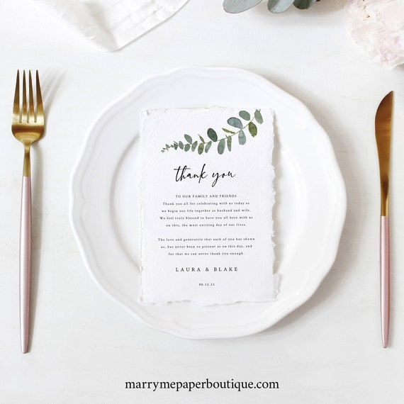 Eucalyptus Thank You Letter Template, Greenery Wedding, Printable Thank You Note, Editable, Templett INSTANT Download