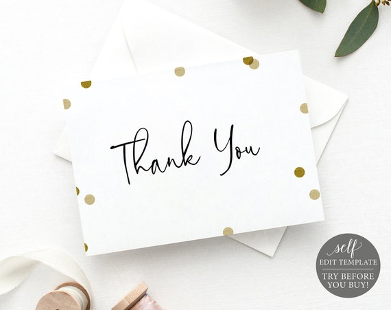 Thank You Card Template, Gold Confetti, Demo Available, Editable & Printable Instant Download