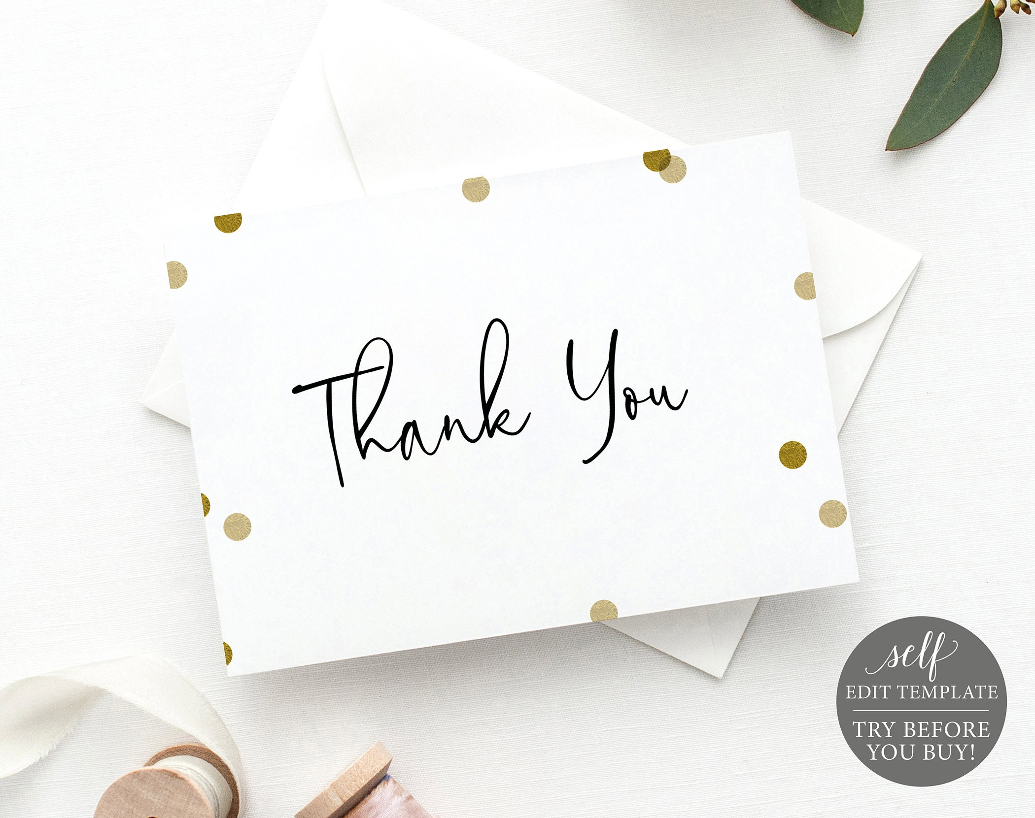 thank you card template gold confetti demo available