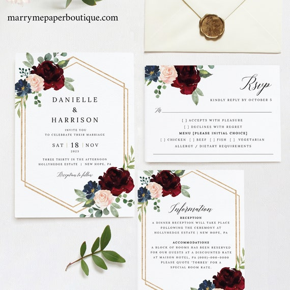 Wedding Invitation Template Set, Free Demo Available, Editable Instant Download, Burgundy Navy