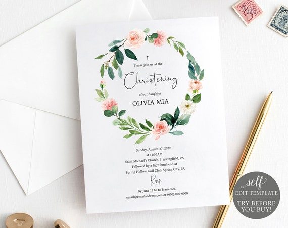Christening Invitation Template, Editable & Printable Instant Download, Demo Available, Greenery Floral