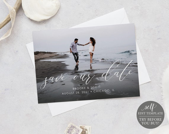 Save The Date Photocard Template, TRY BEFORE You BUY, Instant Download, 100% Editable