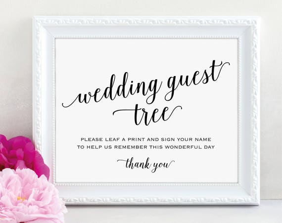 Guest Tree Sign, Leaf a Print and Sign Your Name, Wedding Sign, Wedding Printable, Reception Sign, Tree Sign, PDF Instant Download, MM01-1