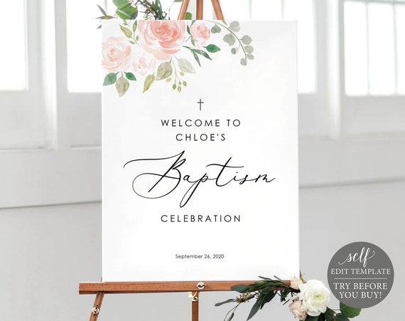Baptism Welcome Sign Template, 100% Editable Baptism Sign Printable, Pink & Blush Floral, Instant Download, TRY BEFORE You BUY
