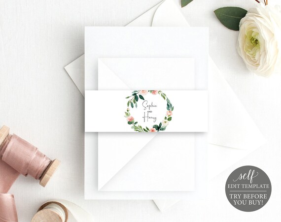 Belly Band Template, Floral Greenery, Editable Instant Download, TRY BEFORE You BUY