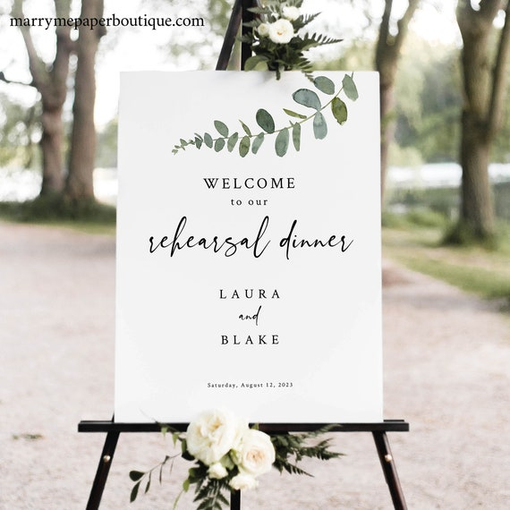 Eucalyptus Rehearsal Dinner Sign Template, Greenery Rehearsal Dinner Welcome Sign, Printable, Templett INSTANT Download, Editable