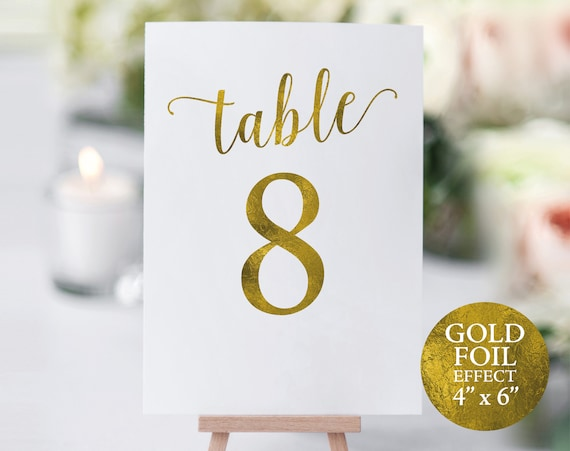 Gold Table Number Template, Table Numbers, Wedding Table Numbers, Printable Table Numbers, Calligraphy, 4x6, PDF Instant Download, MM01-3