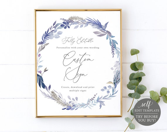 Create Multiple Signs Template, Lavender Blue, TRY BEFORE You BUY, Self Edit Instant Download