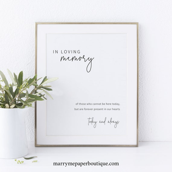 In Loving Memory Sign Template, Minimalist Elegant, Instant Download, Non-Editable