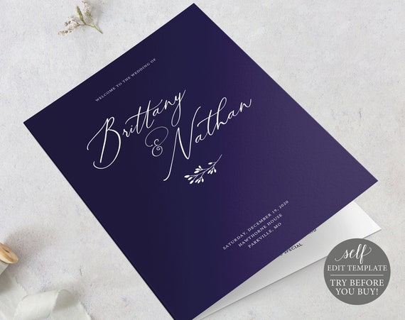 Navy Wedding Ceremony Program Template, 100% Editable Program Printable, Instant Download, TRY BEFORE You BUY