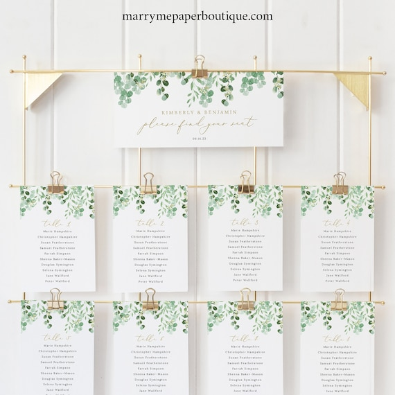 Seating Chart Cards Template, Garden Greenery, Printable Seating Cards, Editable Seating Plan Cards, Templett INSTANT Download