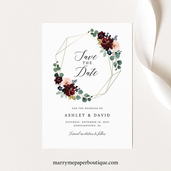 Save the Date Card Template, Burgundy Floral Save Our Date, Printable, Editable, Templett INSTANT Download
