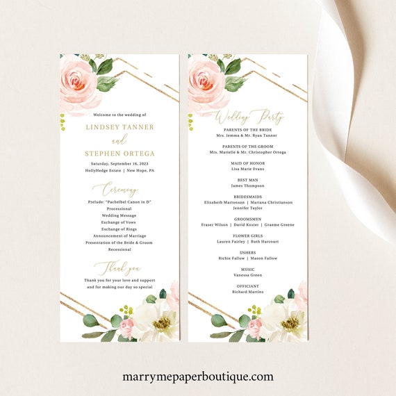 Wedding Program Template, Blush Floral Hexagonal, Editable Instant Download, TRY BEFORE You BUY