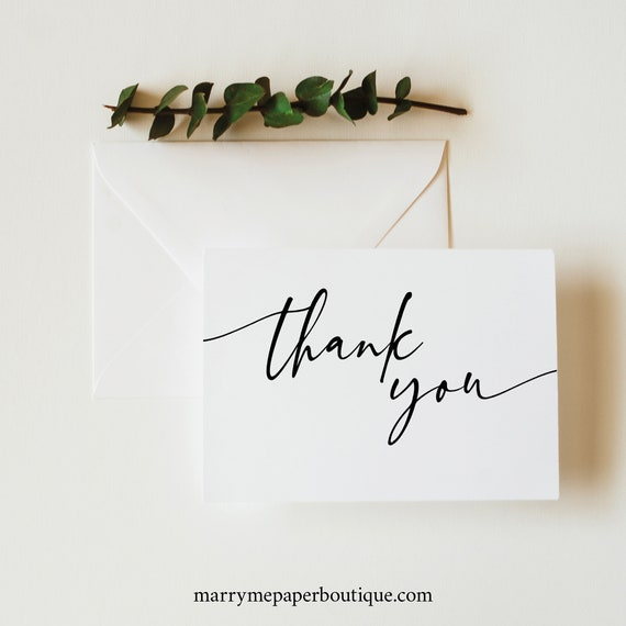 Thank You Card Template Folded, Try Before You Buy, Editable & Printable, Templett Instant Download, Modern Calligraphy