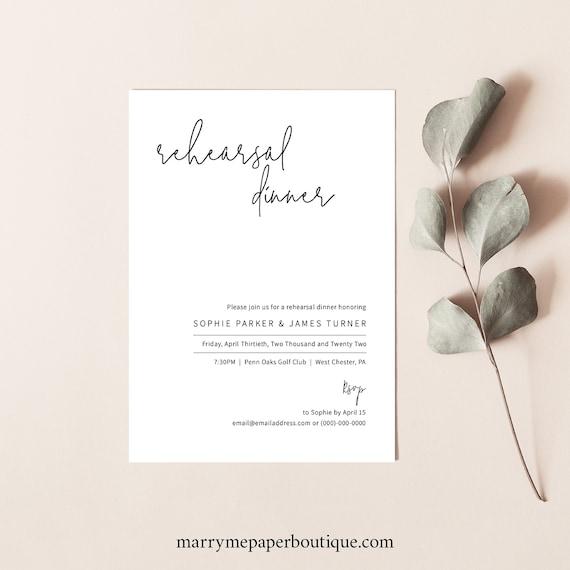 Rehearsal Dinner Invitation Template, Minimalist Elegant, Instant Download, Editable & Printable, Templett, Try Before You Buy