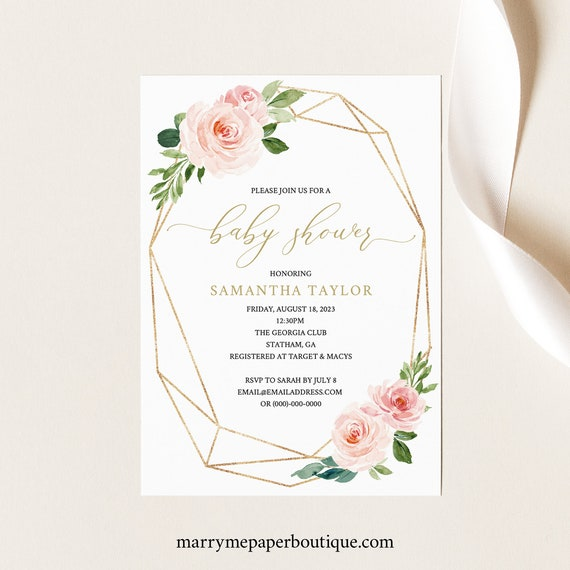 Baby Shower Invitation Template, Pink & Blush Floral, Invite Printable, Editable, Templett, Geometric, INSTANT Download