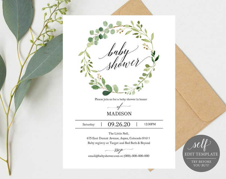 Greenery Baby Shower Invitation Template Printable Invite Floral Instant Download