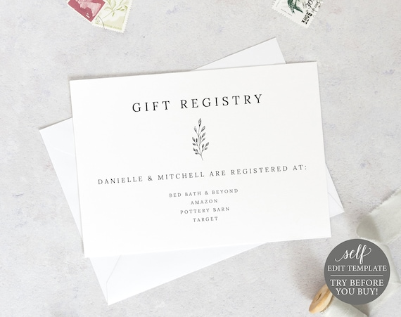 Gift Registry Card Template, Editable Printable Instant Download, Demo Available, Formal Botanical