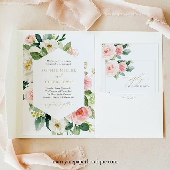 Floral Wedding Invitation Template Set, Pocket Fold, Blush & White Flowers, Printable Invite Set, Templett, Editable, INSTANT Download