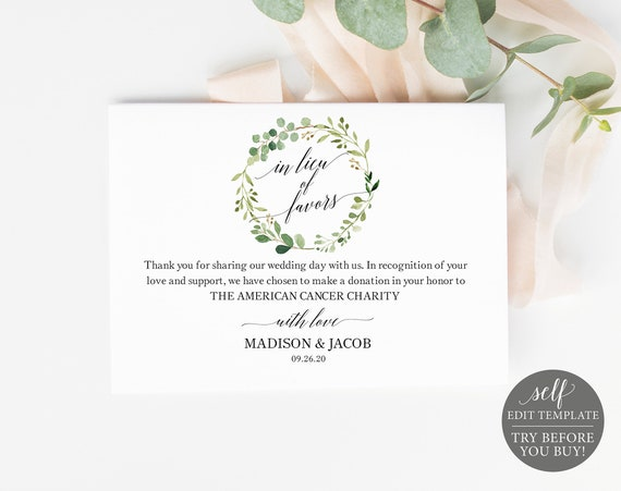 In Lieu of Favors Card Template, Greenery, TRY BEFORE You BUY, Editable Instant Download