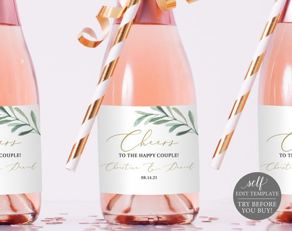 Mini Champagne Bottle Label Template, Free Demo Available, Greenery Leaves, Editable Instant Download