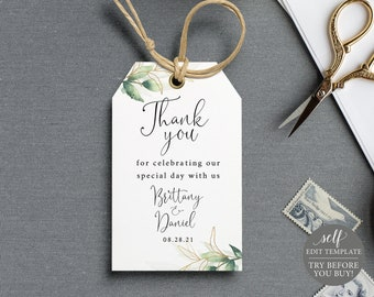 Wedding Favor Tag Template, FREE Demo Available, Greenery & Gold, Editable Instant Download