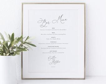 Calligraphy Bar Menu Template, Elegant Wedding Drinks Menu, Wedding Bar Menu Printable, Editable, Templett INSTANT Download
