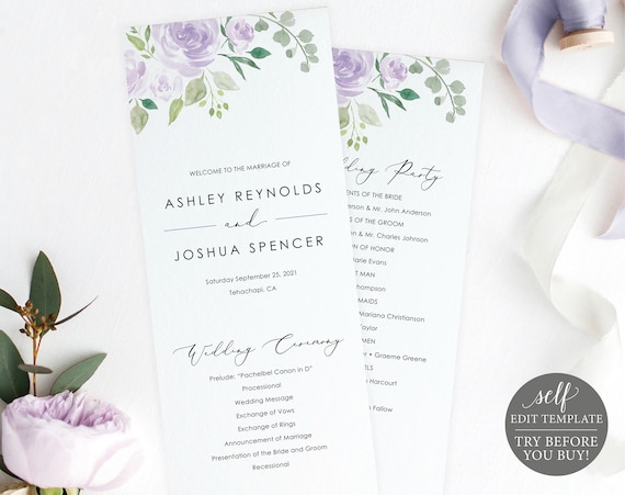 Wedding Program Template, TRY BEFORE You BUY, Editable Instant Download, Lilac Floral