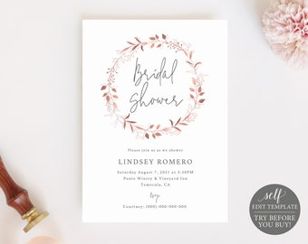 Bridal Shower Invitation Template, Rose Gold, TRY BEFORE You BUY, Fully Editable Instant Download
