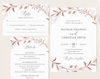 Wedding Invitation Set Template, Rose Gold, Fully Editable Instant Download, TRY BEFORE You BUY